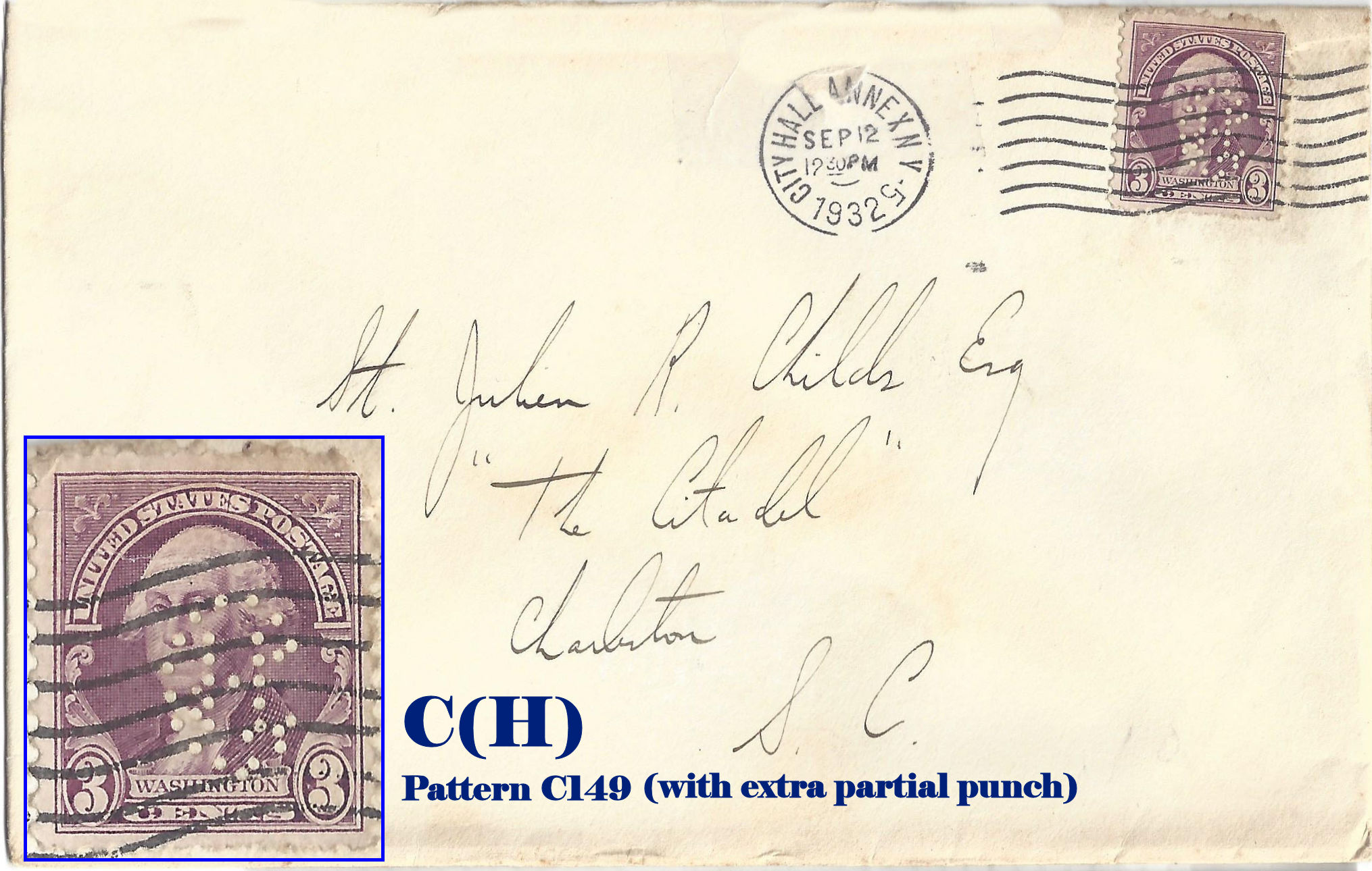 U S Perfin Covers Quot C Quot Patterns